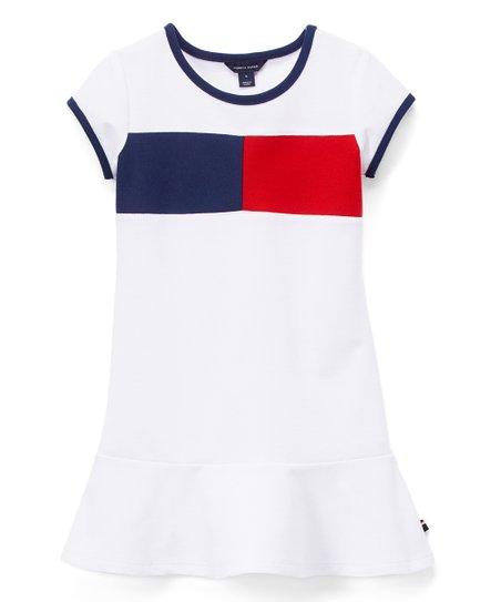 2b156905 Tommy Hilfiger White Flag Piqué Ruffle-Hem Dress - Girls | Zulily