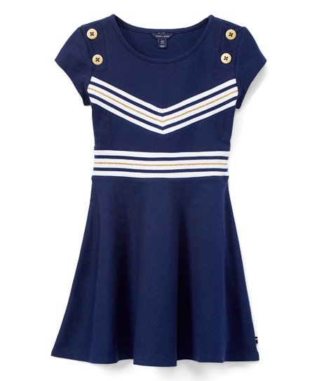 5942f39b Tommy Hilfiger Flag Blue Rib V-Front Skater Dress - Toddler | Zulily