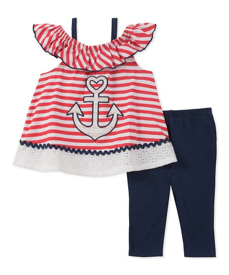 c967a17ae318a8 love this product Red & White Stripe Tunic & Navy Leggings - Infant &  Toddler