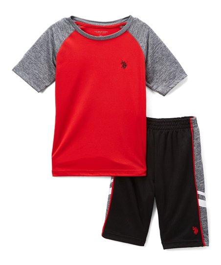 f8a2a0c06 U.S. Polo Assn. Red & Gray Raglan Tee & Athletic Shorts - Boys | Zulily