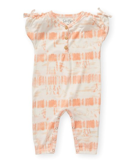 2cef753894c6 love this product Papaya Punch Tie-Dye Stripe Bow-Accent Romper - Infant