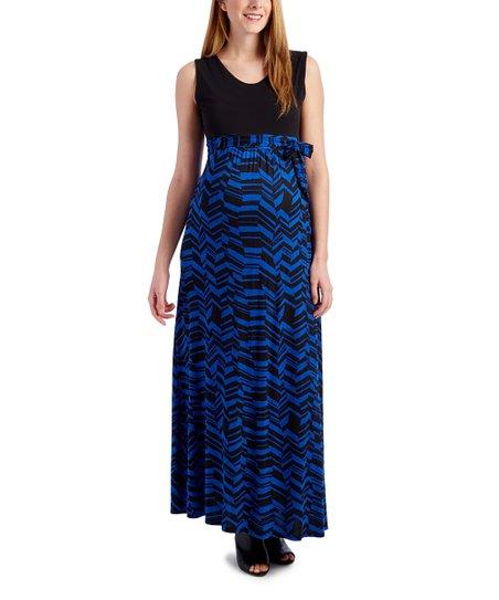 05d1c4484e60d love this product Black & Royal Blue Sleeveless Tie-Waist Maternity Maxi  Dress