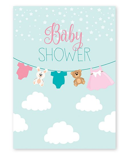 Graphique De France Clothesline In The Clouds Baby Shower Greeting Card Set Of Six