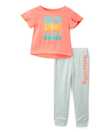 7b180a92a love this product Hello Kitty Orange & Gray Ruffle-Tee & Sweatpants Set -  Girls