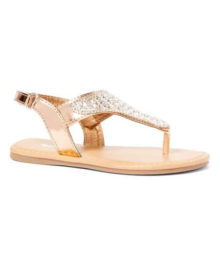 a87f579307d884 love this product Rose Gold Embellished Sez T-Strap Sandal - Girls