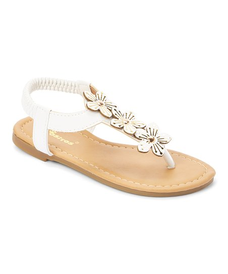 eca3d7df351 love this product White Studded-Floral Sandal - Girls