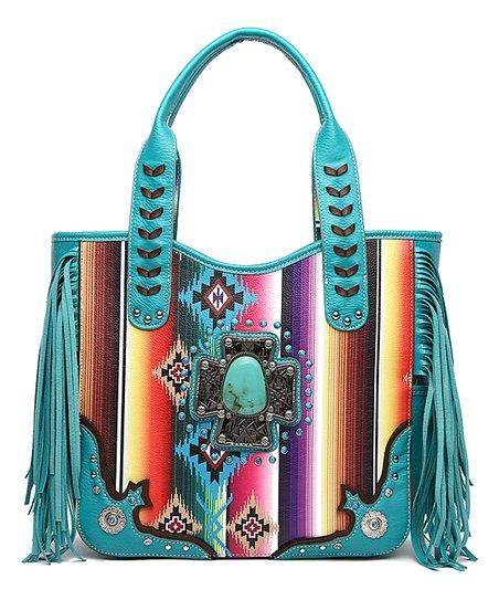 840d51bb5696 Cowgirl Trendy Turquoise Serape & Metal Cross Tote