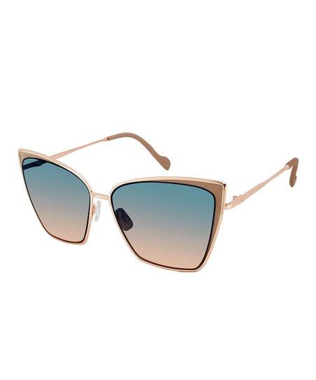 2f76ebf92eb Jessica Simpson Collection Nude Rose Gold Cat-Eye Sunglasses