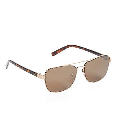 086340e40274a Joes Jeans Gold   Brown Light Gold Flash Bar Pilot Square Sunglasses ...