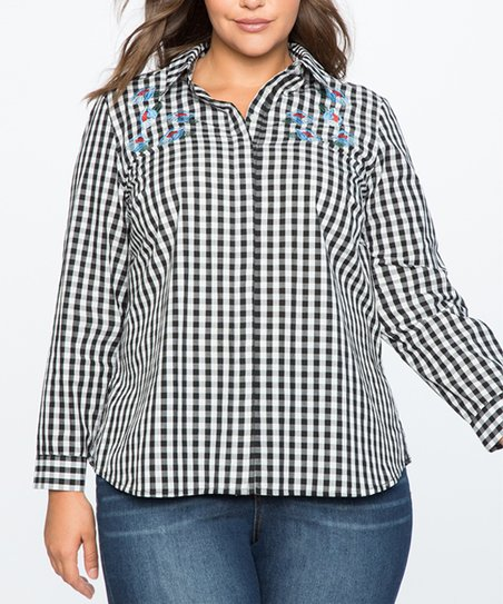 cacf524e1 love this product Black & White Gingham Embroidered Button-Up - Plus