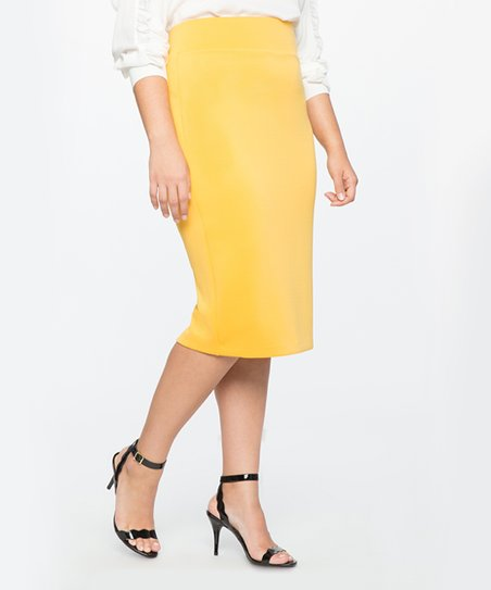198d7d55d9f love this product Spicy Mustard Neoprene Pencil Skirt - Plus