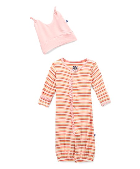 39062630d6a love this product Pink Freshwater Stripe Convertible Gown   Double-Knot  Beanie - Newborn   Infant