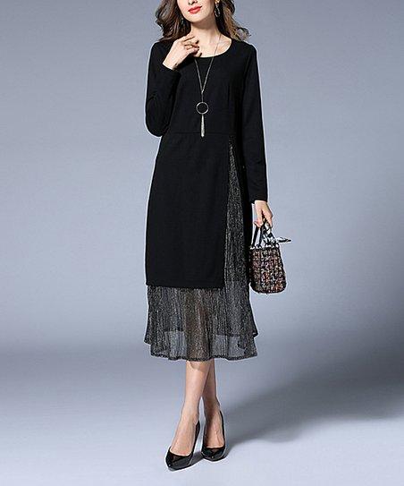 1fd1114fa75 Coeur de Vague Black Sheer Accent Midi Dress - Women