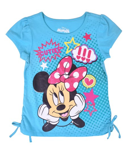 b1233c9e love this product Minnie Mouse Blue 'Cutie' Side-Tie Tee - Toddler