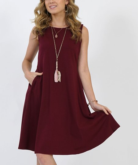 62dc54d8c221 love this product Dark Burgundy Pocket Sleeveless Swing Dress - Women