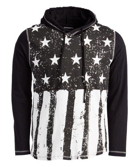 addb1532c Overdrive Black & White Stars & Stripes Hoodie - Men   Zulily
