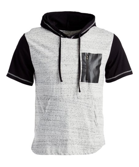 dac40ee05 Overdrive White & Black Pocket-Accent Short-Sleeve Hoodie - Men | Zulily