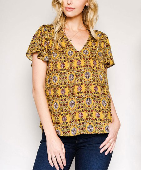 828bc14581dbca love this product Mustard V-Neck Top - Women