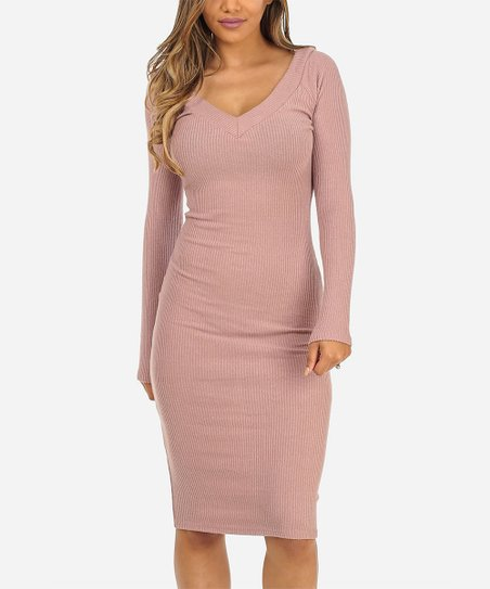 Heart   Hips Mauve Long-Sleeve V-Neck Dress - Women  8dc61ccbd8