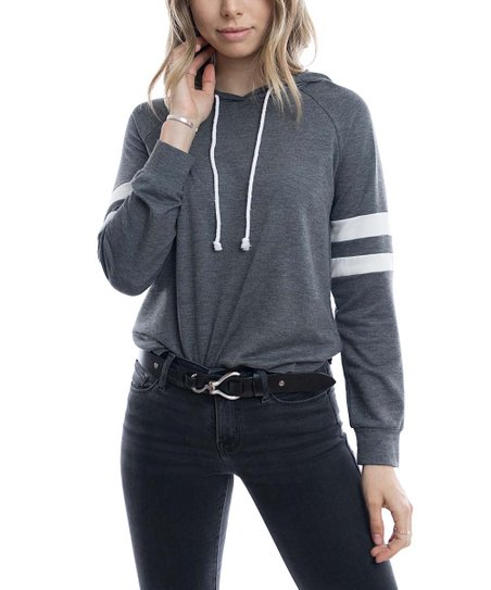 58a33827fc5c0 love this product Heather Charcoal   Off-White Stripe-Sleeve Hoodie - Women