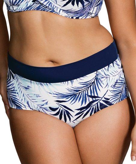fc87299ef7 love this product White & Aqua Leaf Corsica High-Waist Bikini Bottoms -  Women
