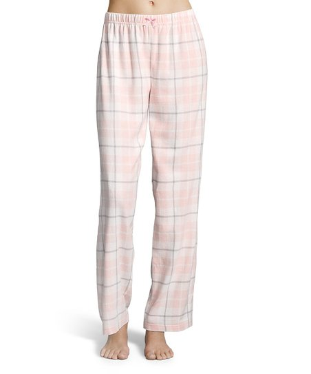 kathy ireland Ivory Plaid Flannel Pajama Pants - Women  c0f528afa