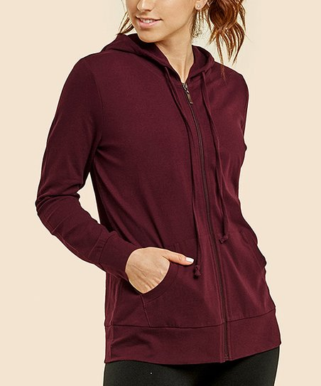 d23b504db love this product Burgundy Pocket-Front Zip-Up Hoodie - Women