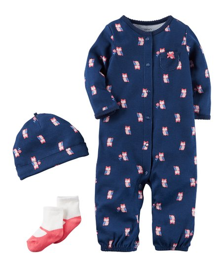 0860bed24 love this product Navy & Coral Floral Owl Playsuit Set - Newborn & Infant