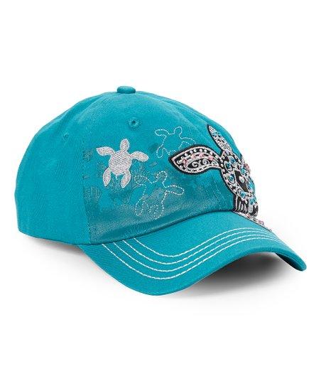 d52668614763a The Alabama Girl Turquoise   Black Rhinestone Turtle Baseball Cap ...