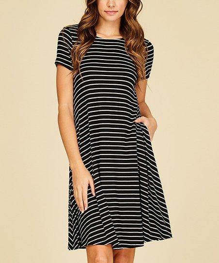 4914f3e83fb81 Annabelle USA Black & Ivory Stripe Pocket T-Shirt Dress - Women | Zulily
