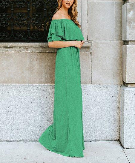 48d2d005cc71 love this product Kelly Green Off-Shoulder Maxi Dress