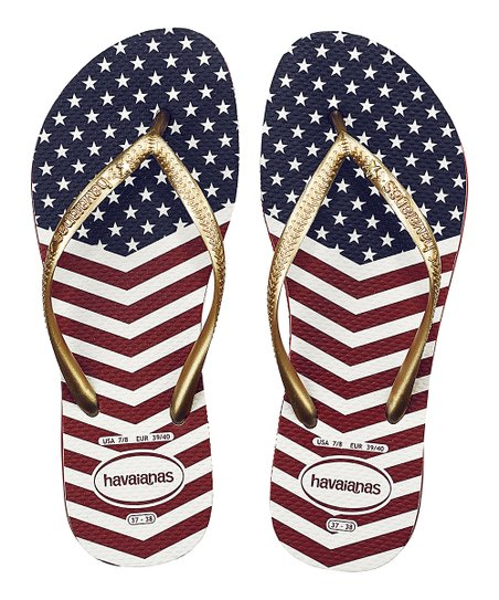 09165427e7fe love this product Red   Blue Slim Chevron Stars and Stripes Flip-Flop -  Women