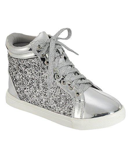 Silver Sparkle High-Top Sneaker - Girls