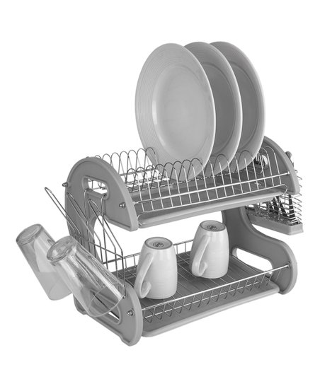 home basics Gray Two-Tier Plastic Dish Drainer  d14105060a