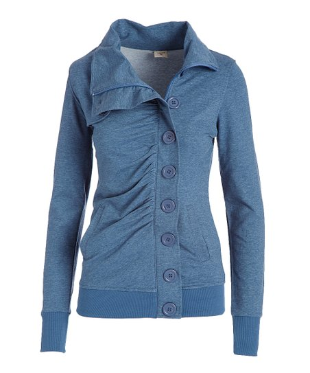 2b6daf980d love this product Royal Blue Ruched Button-Up Cowl Neck Top - Women