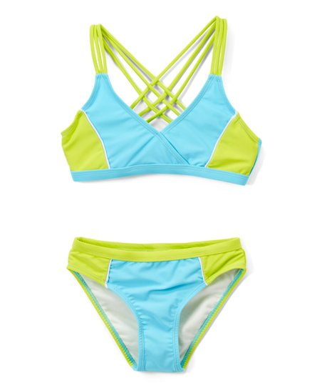 79ca242a5f love this product Turquoise & Lime Color Block Crisscross-Back Bikini -  Girls
