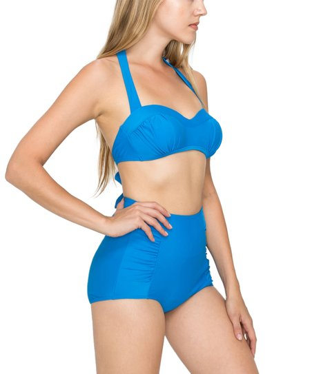 268d5c5f39 love this product Royal Blue Ruched Bikini Top & High-Waist Bottoms - Women