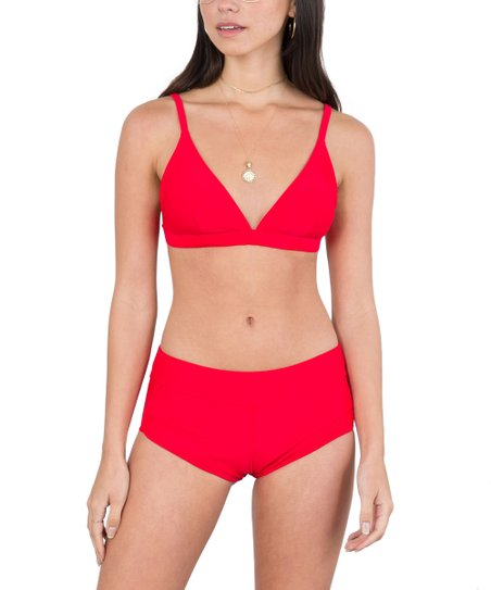 3980935961 love this product Red Triangle Bikini Top   Boyshort Bikini Bottoms - Women