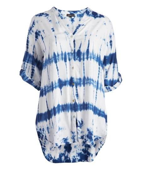 c715993b8fb8d love this product White   Blue Tie-Dye Cover-Up - Plus