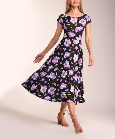 1af8fee4309f love this product Black & Purple Floral Fit & Flare Dress - Women & Plus