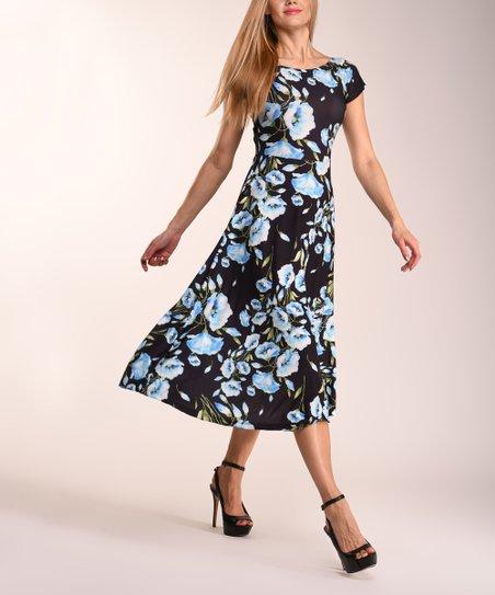 8d65096ee068 love this product Black & Blue Floral Fit & Flare Dress - Women & Plus