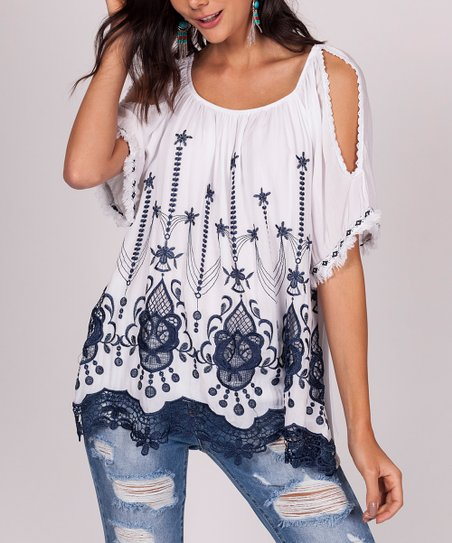 a3a4019d8e6fc3 love this product White Scarf Print Cold-Shoulder Top - Women