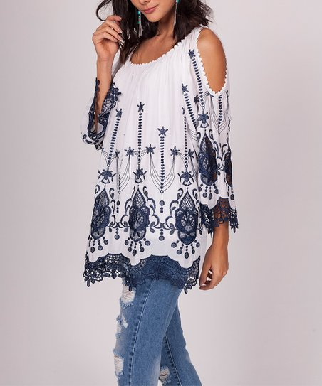 aed00a890c3e8c love this product White Scarf Print Open-Shoulder Top - Women