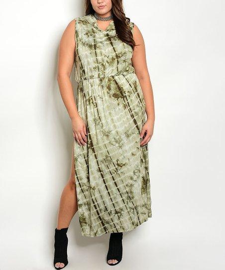 714459b3edba love this product Olive Tie-Dye Side-Slit Lattice-Cutout Maxi Dress - Plus