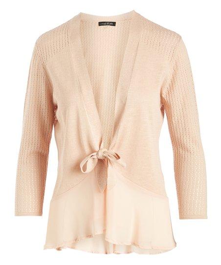 e0c5d1be9146 love this product Dahlia Mauve Ruffle-Trim Tie-Front Cardigan - Women