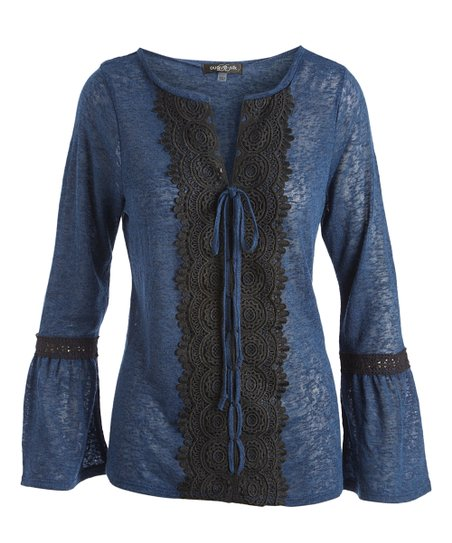 7fdc633a100d9 love this product Indigo   Black Bell-Sleeve Tie-Accent Notch Neck Top -  Women