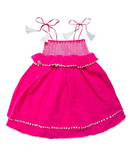 Fluorescent Pink Smocked Shift Dress S