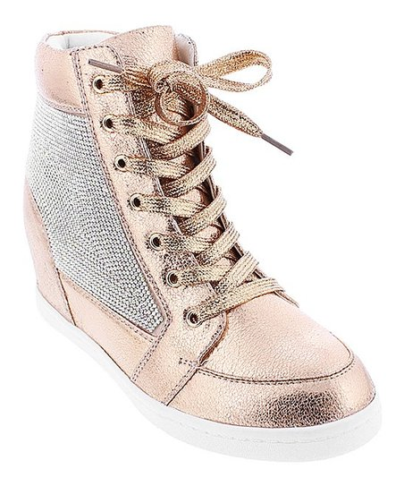 Liliana Footwear Rose Gold Sue Wedge Sneaker - Women  6876ee1b8