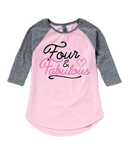 62b37f4d3c3f love this product Light Pink   Gray  Four   Fabulous  Raglan Tee - Toddler    Girls