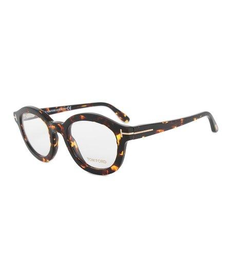cbc9b38fd5 Tom Ford Dark Havana Stripe-Arm Round Eyeglasses
